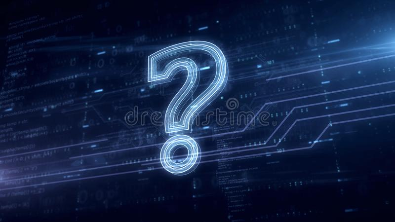 Hologramme bleu de symbole de point d'interrogation illustration stock