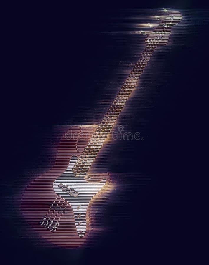 Hologramme de guitare basse de hard rock illustration stock