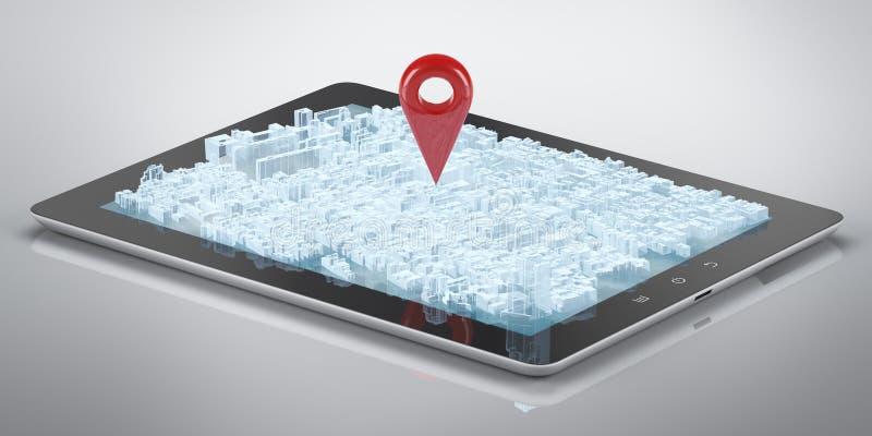 Hologramme GPS de ville d'ordinateur de tablette illustration stock
