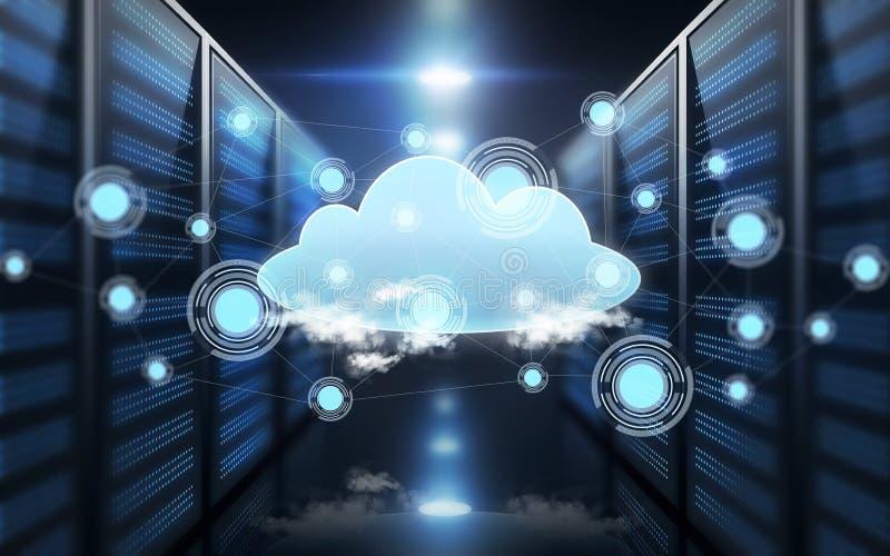 Hologramme virtuel de nuage au-dessus de pièce futuriste de serveur illustration libre de droits