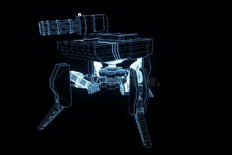 hologramme Wireframe de réservoir du robot 3D dans le mouvement Rendu 3D gentil illustration libre de droits