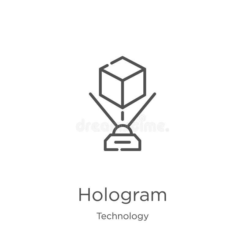 Hologrammikonenvektor von der Technologiesammlung D?nne Linie Hologrammentwurfsikonen-Vektorillustration Entwurf, d?nne Linie Hol lizenzfreie abbildung