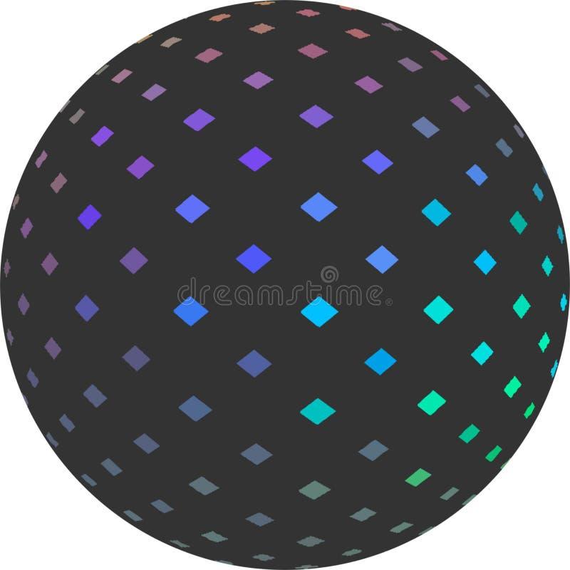 Hologrammmosaik auf grauem Kugel 3d simbol lokalisiert auf Weiß vektor abbildung