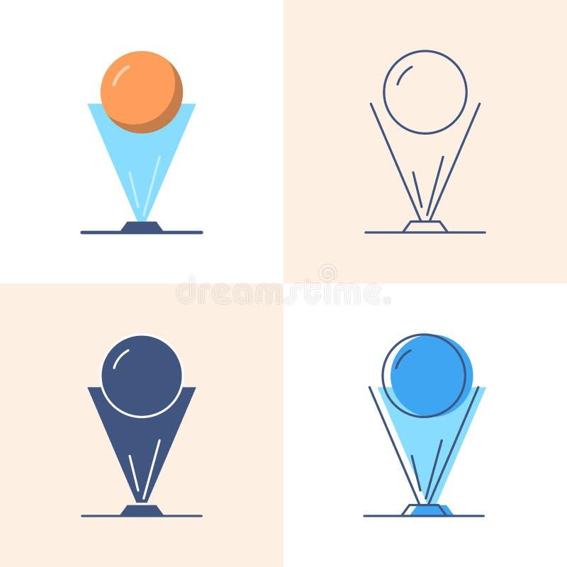 Hologrammprojektionsikone eingestellt in Ebene und in Linie Art lizenzfreie abbildung