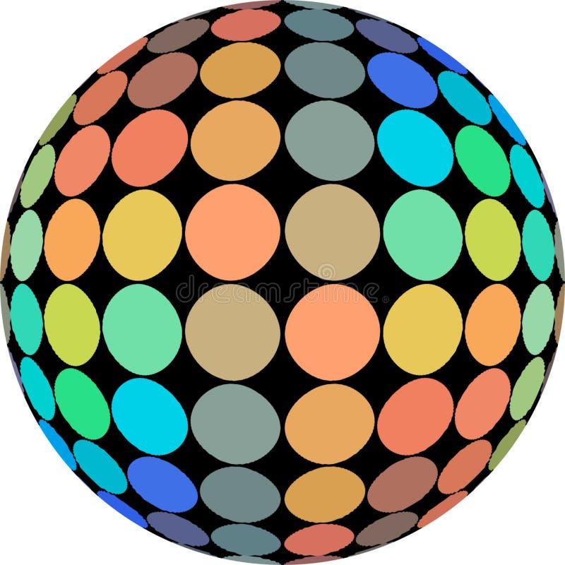 Hologrammtupfenmakro auf dem Ball 3d lokalisiert auf weißem Hintergrund Orange blaue grüne gelbe Steigung Kreative helle Ikone vektor abbildung