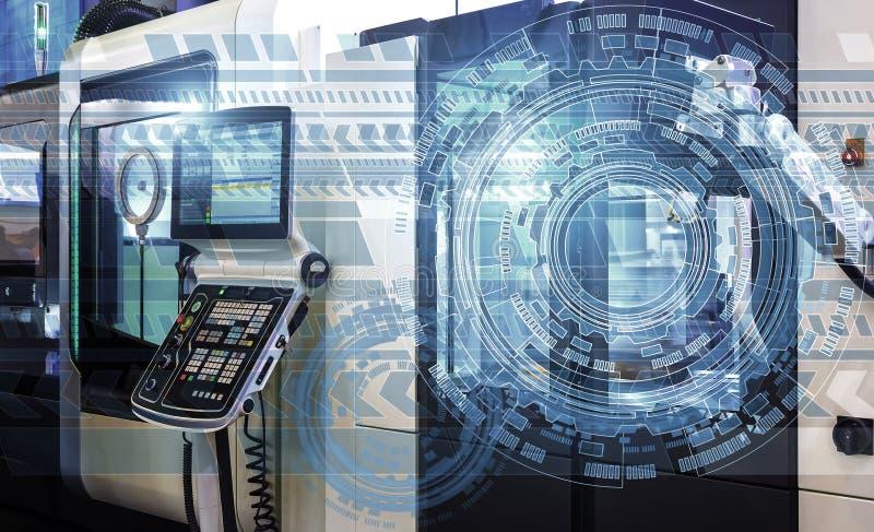 Holograms технологической предпосылки na górze современной машины с численным управлением, концепцией индустрии и бесплатная иллюстрация