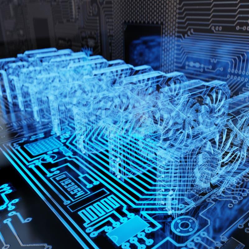 Holographic abstrakt Cryptocurrency bakgrund som bryter upp riggen, slut av samlingen av GPUs för att bryta tolkningen 3D royaltyfri illustrationer