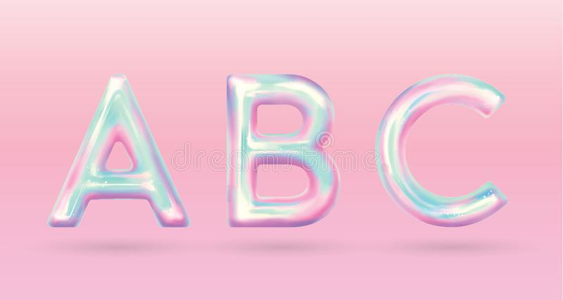 Holographic alphabet holographic alphabet with fun color pastel royalty free illustration
