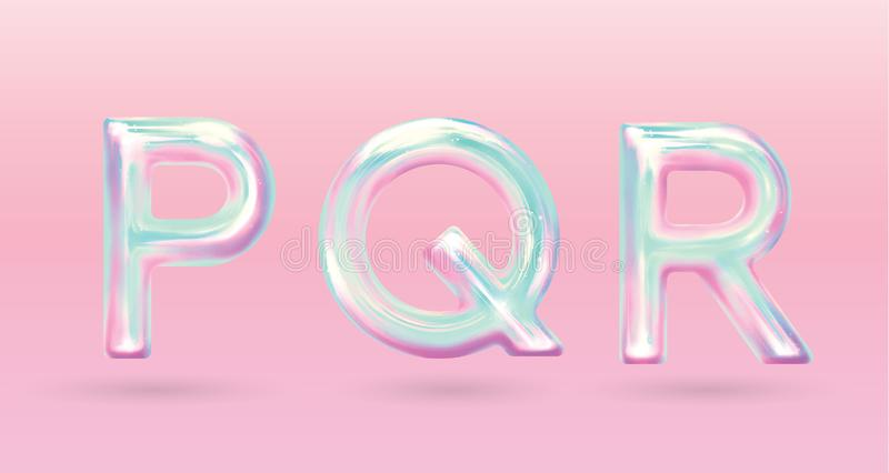 Holographic alphabet holographic alphabet with fun color pastel vector illustration