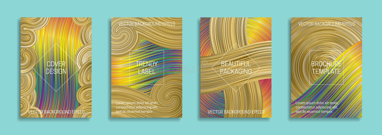 Holographic backgrounds for cover design. Trendy labels for beautiful packaging. Bright intensive brochure templates royalty free illustration