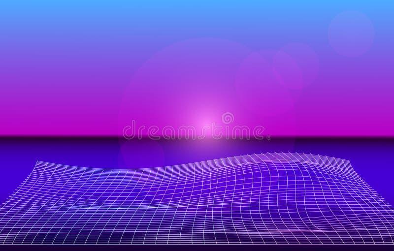 Holographic bakgrund med neonlaser-raster Synthwave stil Vaporwave Retrowave vektor stock illustrationer