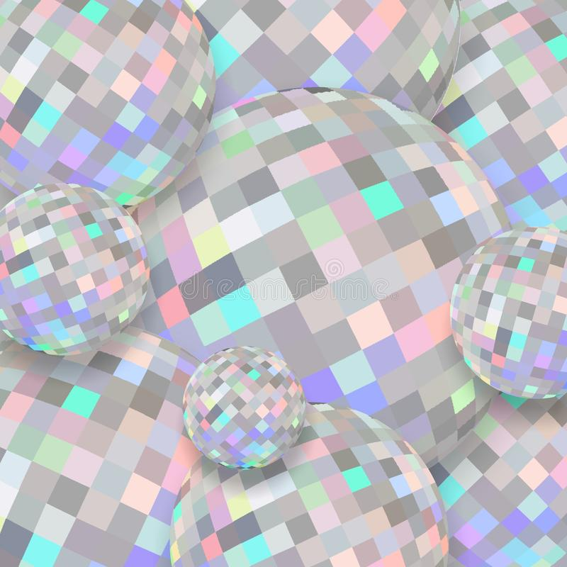 Holographic brilliance crystal balls 3d. Abstract shimmer diamond texture. Creative image for any design. Simple graphics. Great template for advertising stock illustration