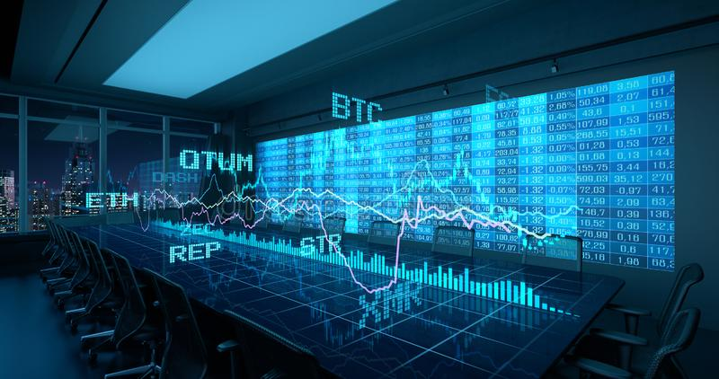 Holographic Charts Financial Statistics Cryptocurrency stock. Holographic Charts Financial Statistics on Table in Office Interior. Cryptocurrency Bitcoin royalty free illustration