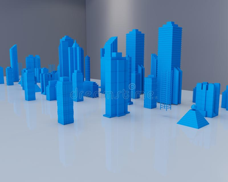 Holographic city. On table in white room royalty free illustration