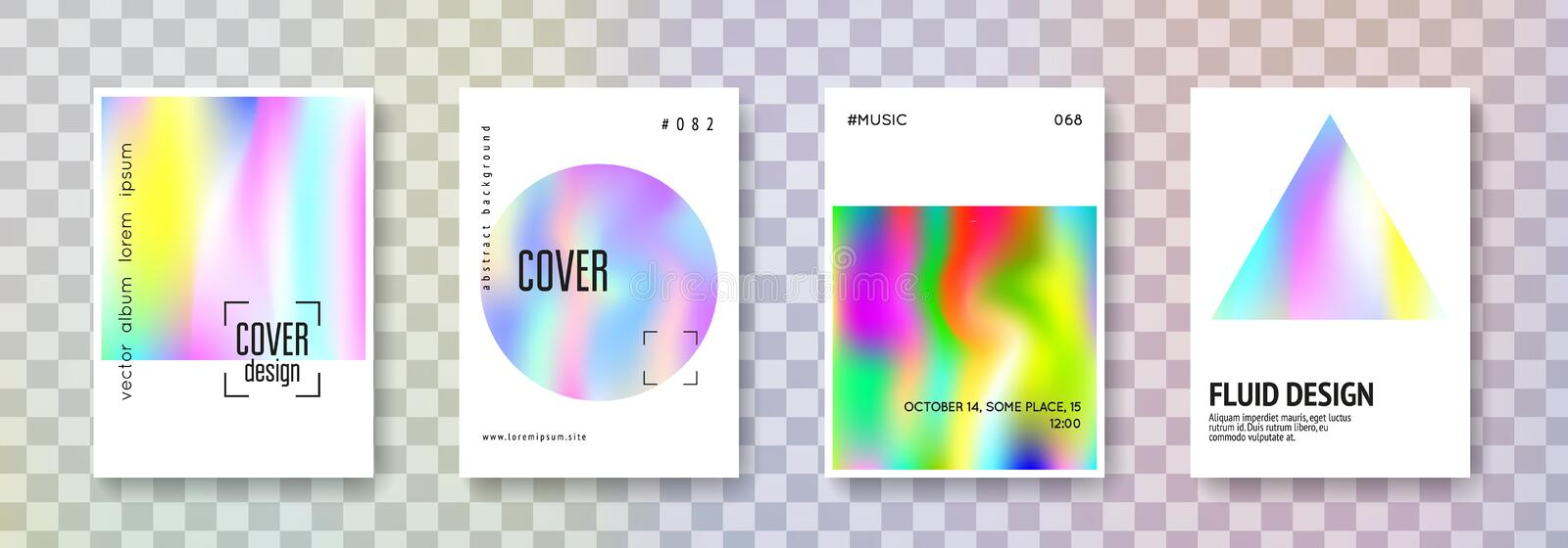Holographic cover set. Abstract backgrounds. stock illustration