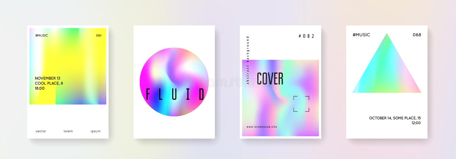 Holographic cover set. Abstract backgrounds. royalty free illustration