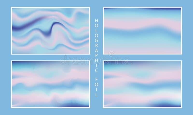 Holographic foil backgrounds set. Vector illustrator vector illustration