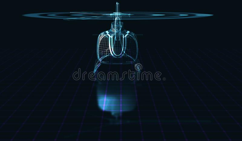 Holographic framework of the helicopter. 3D illustration. Eps10. Holographic framework of the helicopter. 3D illustration royalty free illustration