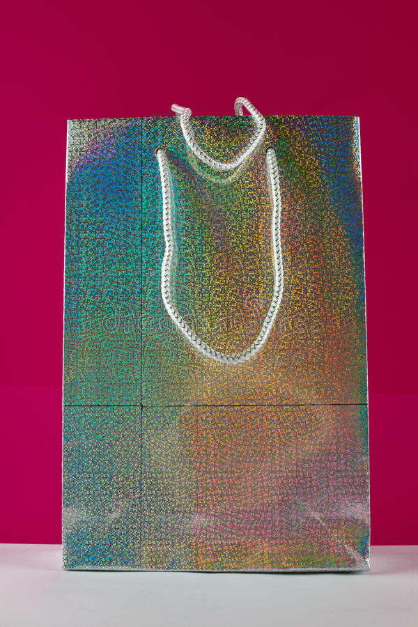 Download Silvery Gift Bag stock photo. Image of bright, holographic - 28576588