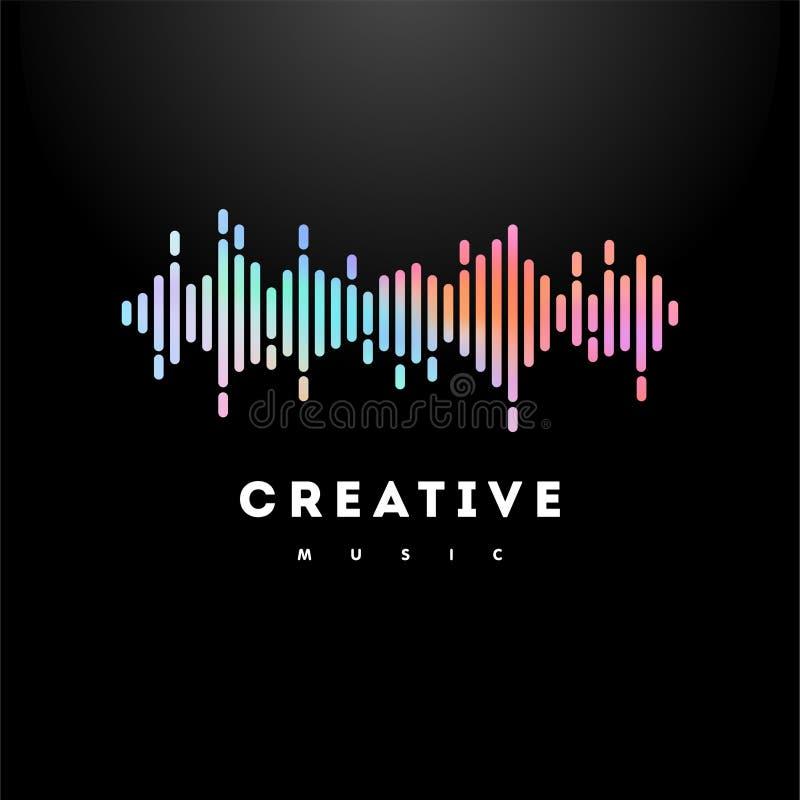 Holographic illustration för musikvågvektor royaltyfri illustrationer
