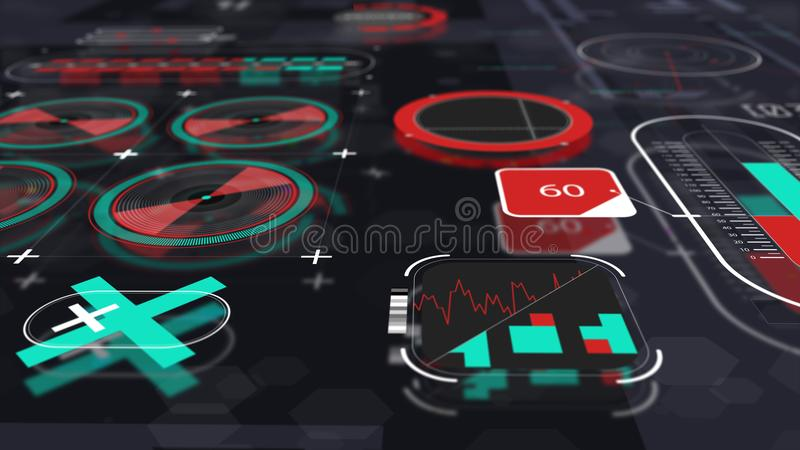 Holographic interface panel view 2. Set of various holographic interface elements with blurred reflections and depth of view, sci-fi futuristic background view 2 stock illustration