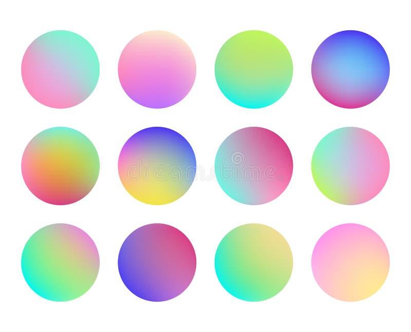 Holographic lutningsfärknapp Flerfärgade vätskecirkellutningar, färgrik mjuk rund knapp vektor stock illustrationer