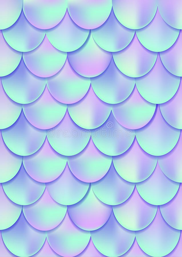 Holographic mermaid tail card or background. Mesh Gradient mermaid card for party. vector illustration