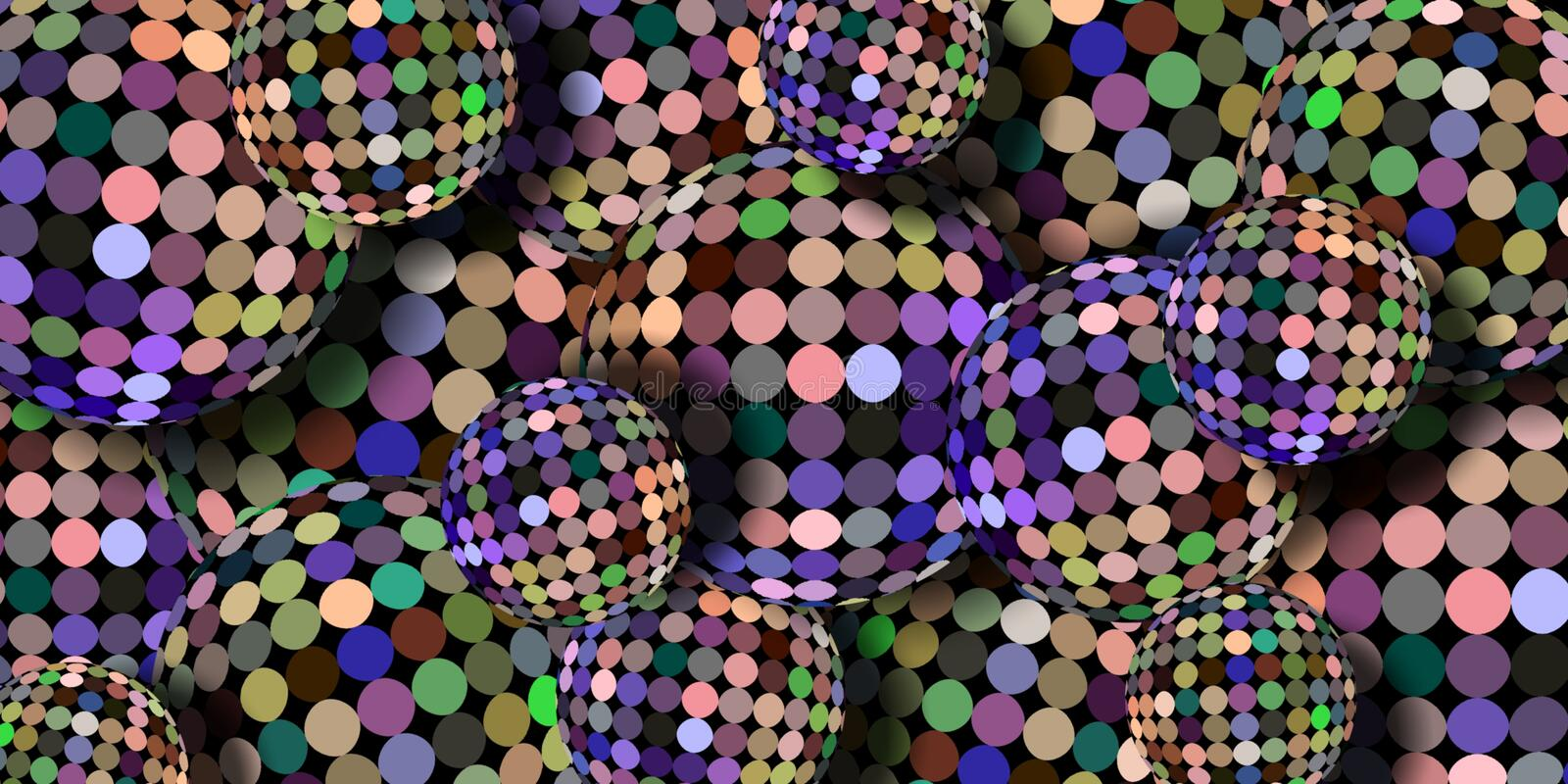 Holographic mirror shimmer 3d balls abstract wallpaper. Mosaic glitter festive background. Blue yellow green lilac iridescent dots royalty free illustration