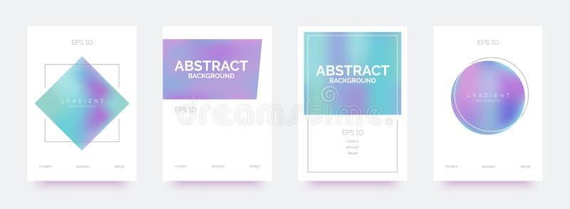 Holographic moderiktiga baner, broschyrer, reklamblad, bakgrunder med abstrakta lutningformer vektor illustrationer