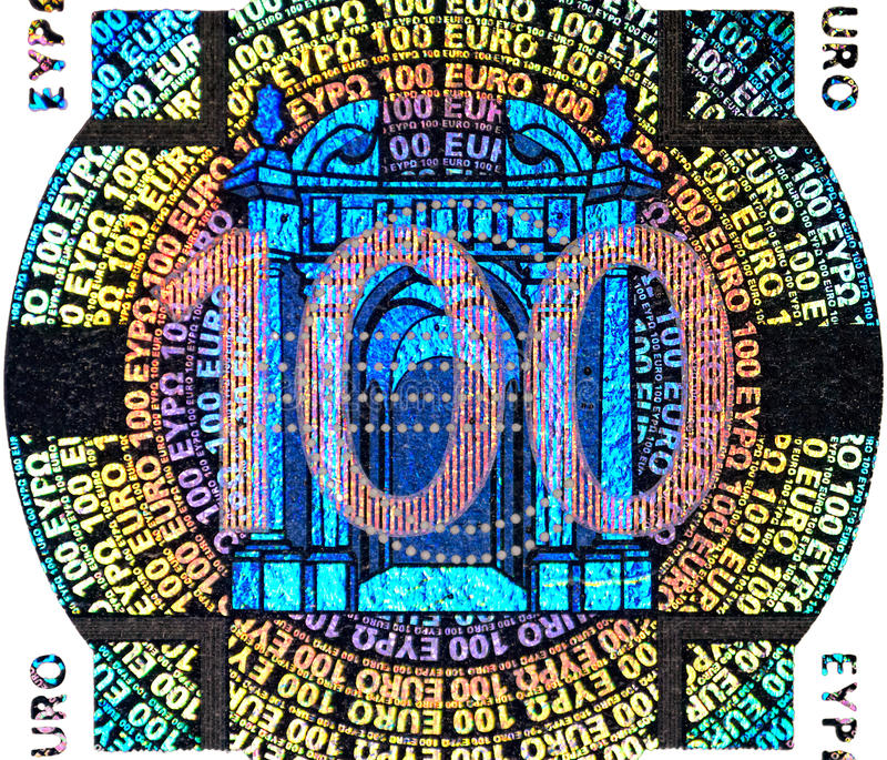 Holographic patch of one hundred Euro banknote. Hologram on the one hundred Euro banknote stock photos