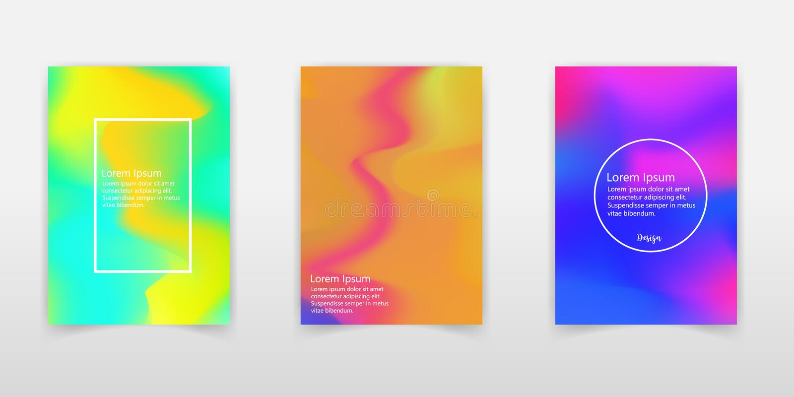 Holographic poster set. Abstract backgrounds. Futuristic holographic Foil poster with gradient mesh. 90s, 80s retro style. Irides stock illustration
