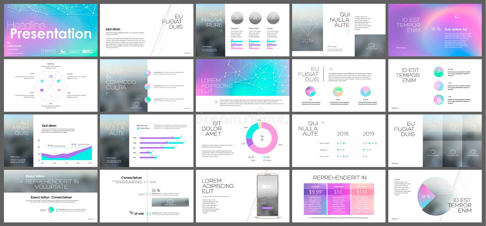 Holographic template presentation. Template presentation of twenty different holographic designs royalty free illustration