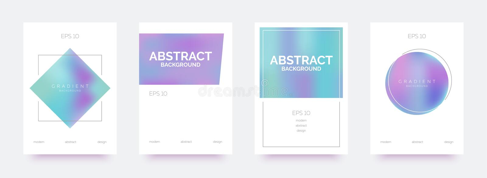 Holographic trendy banners, brochures, flyers, backgrounds with abstract gradient shapes. vector illustration