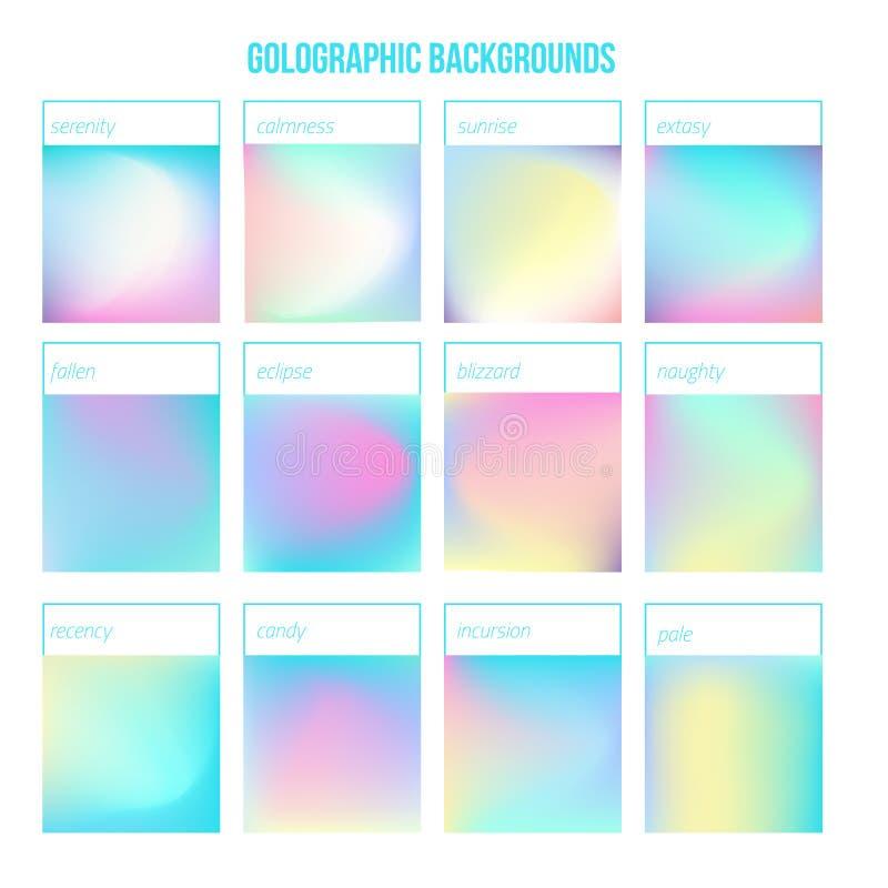 Holographic uppsättning för vektor med lutningar för din design Färgrik mall för modern design vektor illustrationer