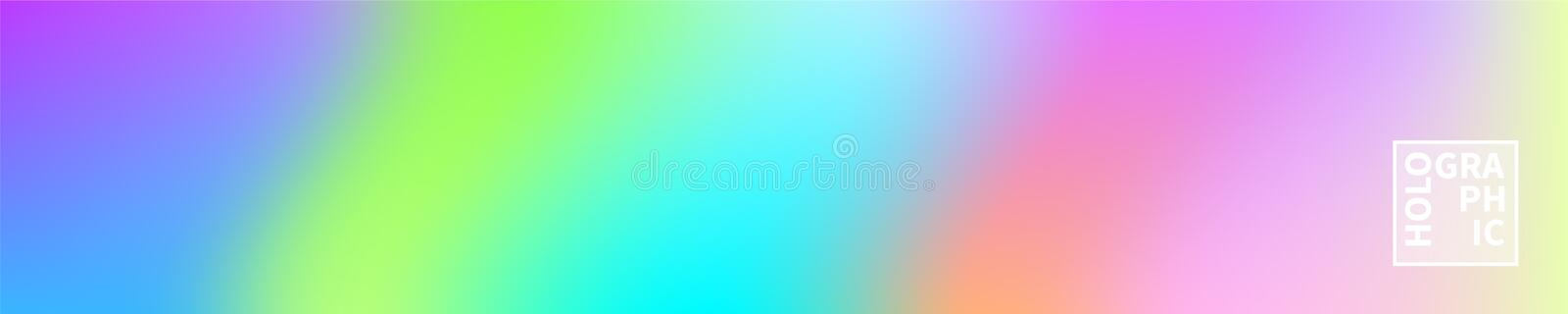 Holographic Vector Background. Iridescent Foil. Glitch Hologram. Pastel neon rainbow. Ultraviolet metallic paper. Template for presentation. Cover to web royalty free illustration