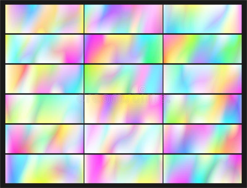 Holographic vektorbakgrund Regnbågsskimrande folie Tekniskt felhologram Pastellfärgad neonregnbåge royaltyfri illustrationer