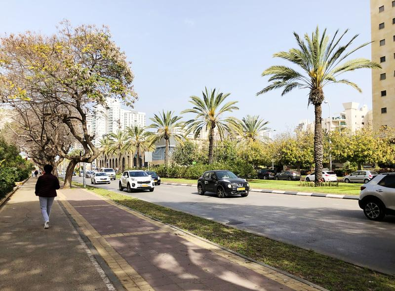 HOLON, ISRAEL  April 07, 2019:Residential building, trees and streets in Holon, Israel.  stock photography