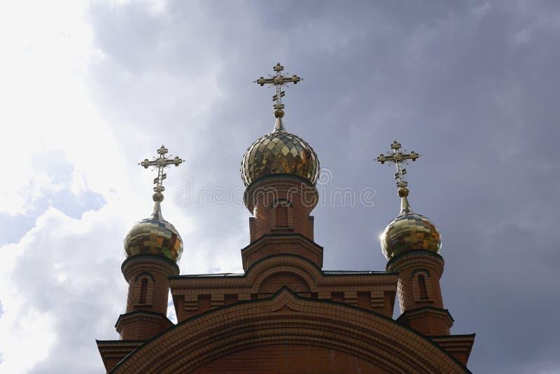 Holosievskaya Pustyn,基辅Kyiv,乌克兰 女修道院修道院,教会,橙色砖寺庙  库存图片