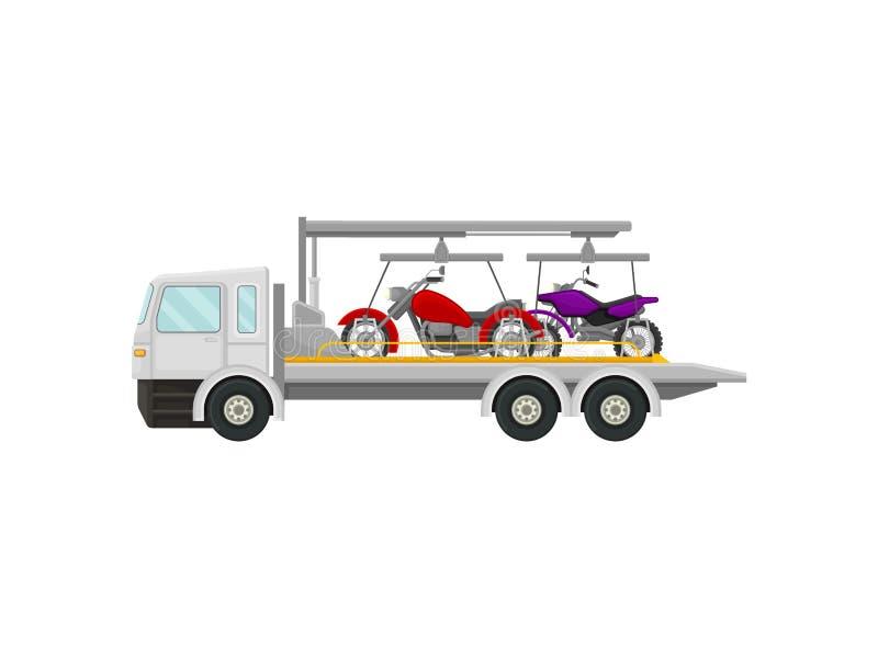 Holownicza ciężarówka niesie motocykle t?a ilustracyjny rekinu wektoru biel ilustracji