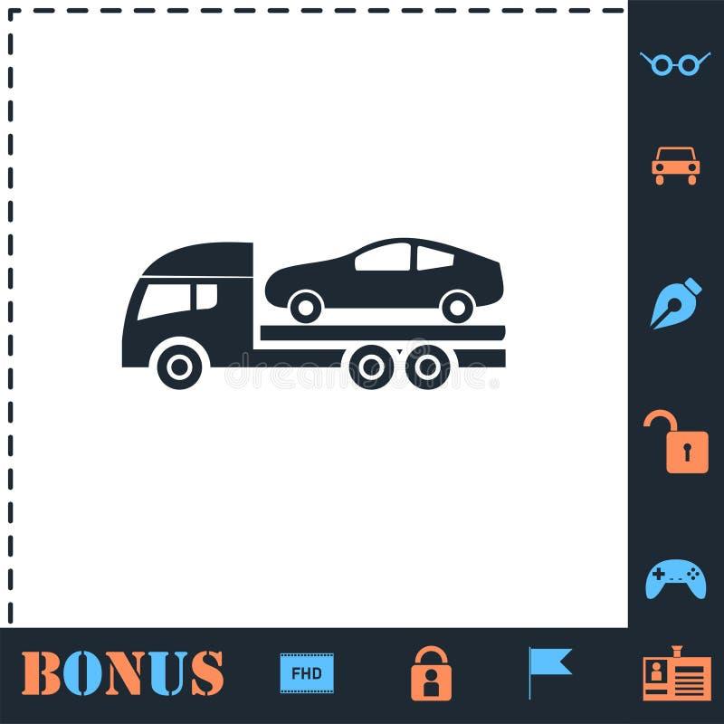 Holowniczego samochodu ikony ewakuacyjny mieszkanie ilustracja wektor
