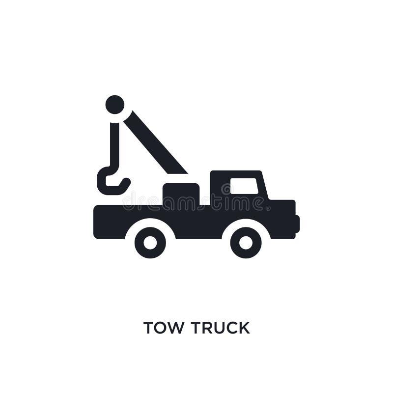 Holowniczej ciężarówki odosobniona ikona prosta element ilustracja od budowy pojęcia ikon holowniczej ciężarówki logo znaka symbo ilustracji