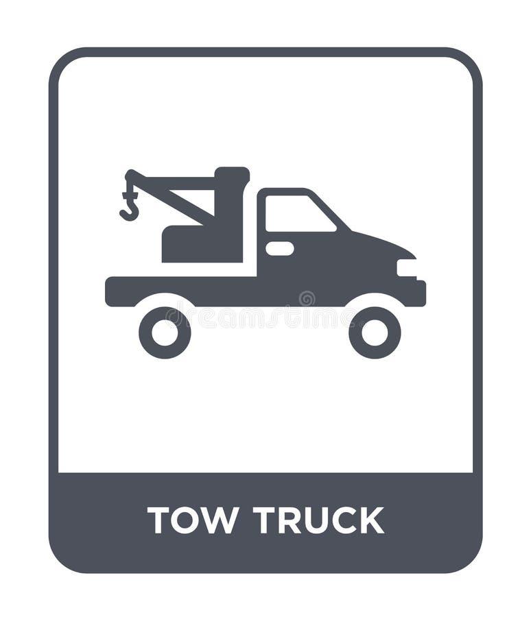 holowniczej ciężarówki ikona w modnym projekta stylu holowniczej ciężarówki ikona odizolowywająca na białym tle holowniczej cięża ilustracji
