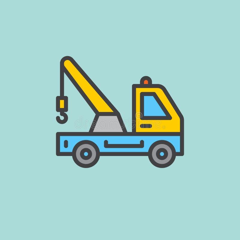 Holowniczej ciężarówki konturu wypełniająca ikona, kreskowy wektoru znak, płaski kolorowy piktogram Symbol, logo ilustracja ilustracja wektor