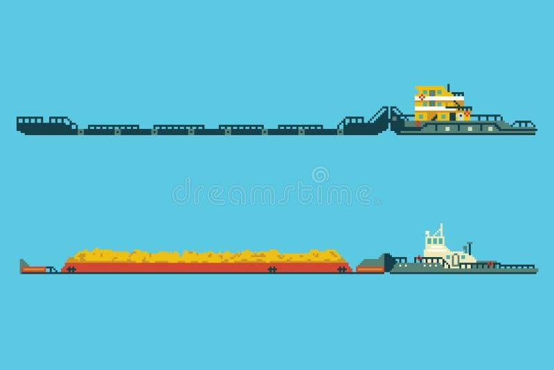 Holowniczy statki w 8 kawałków piksla sztuki stylu ilustracja wektor