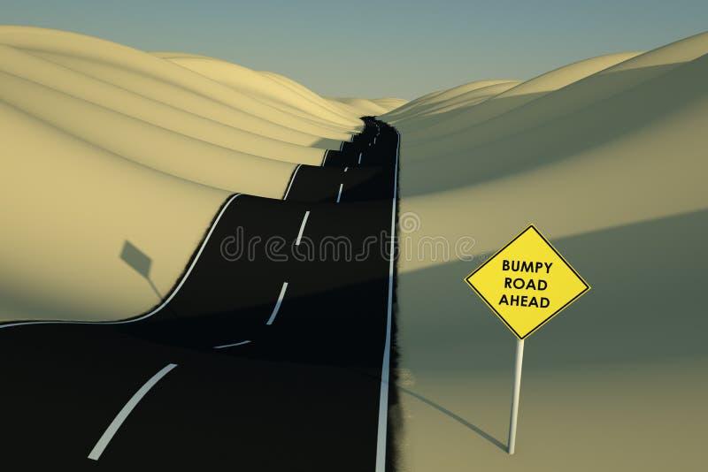 Holperige Straße voran stock abbildung
