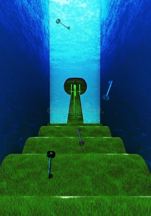 Holperiger Unterwasserweg mit geformter Tür des Schlüssellochs stockbild