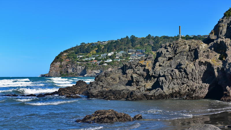 Holrots in Sumner Beach in Christchurch stock afbeelding