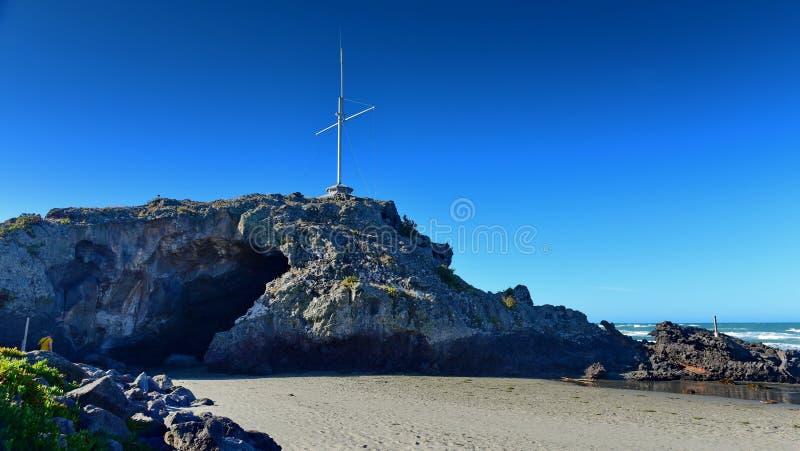 Holrots in Sumner Beach in Christchurch royalty-vrije stock foto's