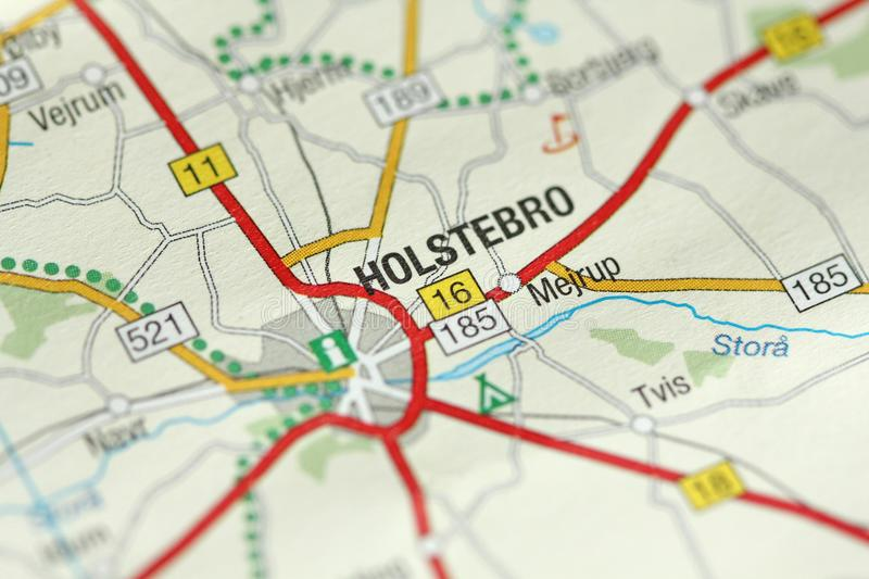 Holstebro. Kongeriget Danmark. A paper map and roads on the map stock photos