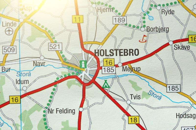 Holstebro. Kongeriget Danmark. A paper map and roads on the map royalty free stock images